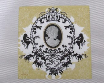 Cameo on baroque decor.