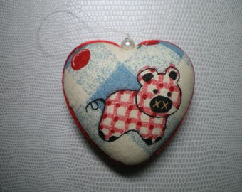 patchwork fabric covered styrofoam heart