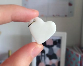 White polymer clay Heart Necklace