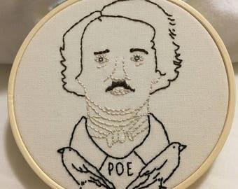 Edgar Allan Poe Portrait Hand Embroidery