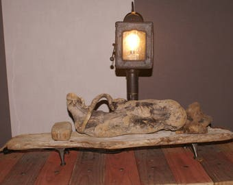 Lantern lamp driftwood and cast iron legs
