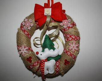 Drinking Straw made of Burlap, wood and felt Christmas wreath