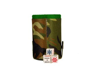 Camouflage Elegant Dice Cup with Storage Compartment. 5 Poker Dice