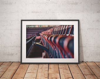 Fenway Park, seats, Red Sox, baseball, Boston MA, Massachusetts, wooden seats, wall decor, photograph, canvas