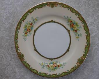 Set of 6 M Japan China Dessert/Bread/Salad Plates, Noritake Floral with Green Trim and Gold Rims,Vintage China,Wedding China