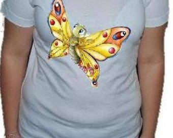 "WOMAN tee-shirt, printed ""Yellow Butterfly"""
