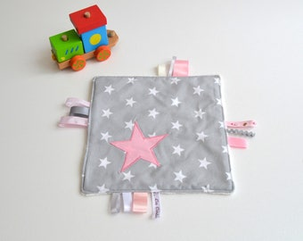 Taggy stars handmade gray and pink @lacouturebytitia