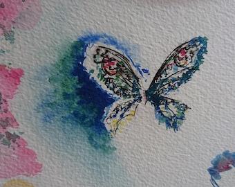 gem butterfly, watercolour, A5, Contemporary art littlecl@mail.ru