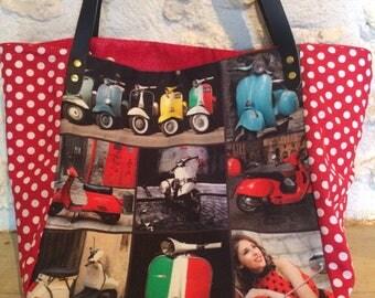 "Large digital ""Vespa"" and polka dot fabric tote bag"