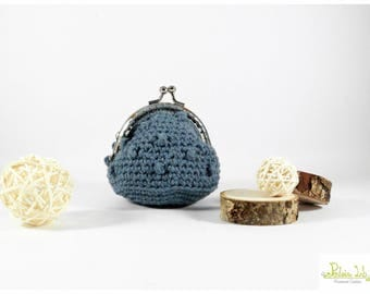 Crochet coin purse color blue jeans with shiny silver metal closure clip clap