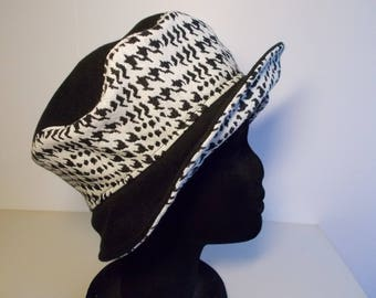 Black peacoat and black and white houndstooth wool fabric Hat