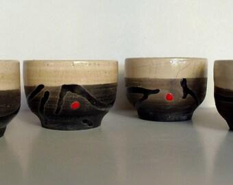4 serving bowls ceramic raku kiln raku ceramic raku bowls zen zen tea bowl chawan red stitch