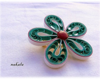 unique painted flower brooch made of paper