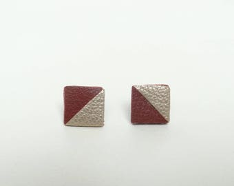 Stud Earrings geometric leather 2 triangles Burgundy and gold