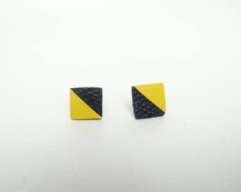 Stud Earrings geometric leather 2 yellow and black triangles.