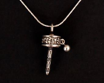 Silver pendant - Tibetan prayer roll shape