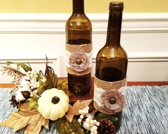 Burlap Wine Bottle Decor.  Rustic Decor. Country Chic Decor. Wine Decor. Farmhouse Decor.