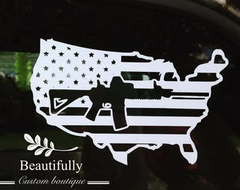 Custom Car Decal AMERICA OUR GUNS