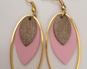 Leather and gold, fancy earrings