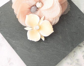 White enamel flower connector in ombre blush rhinestone Opal spirit