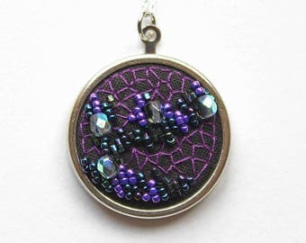 Purple embroidered geode necklace