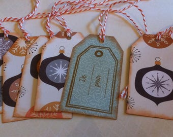 gift tags, Christmas, beige and blue balls