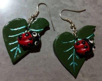 Leaf and ladybug, polymer clay earrings