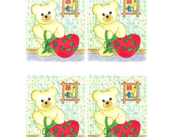 Teddy bear and bag red DC003