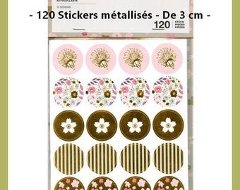 X 120 metallic Stickers - 3 cm in diameter - flowers and stripes - new