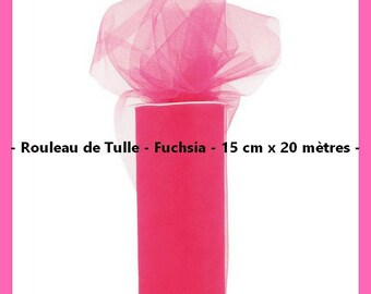 Tulle - Color Fuchsia - 15 cm wide x 20 meters - new