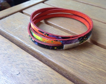 Wrap bracelet leather free shipping in France fancy color