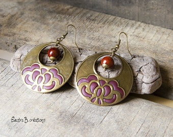 Earrings creole large print Brown Burgundy and bronze