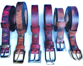 Narrow leather belt hand painted full grain, patterns