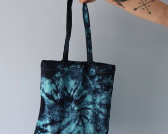 Blue tie dye tote bag