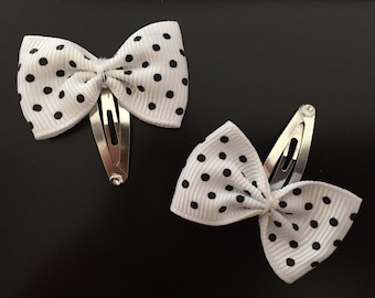 Hair bow white with black polka dots