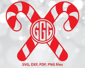 Candy stick SVG file, Monogram dxf, Xmas Cut file, Christmas Monogram SVG, Christmas Cut File, Cricut, Silhouette, Christmas designs