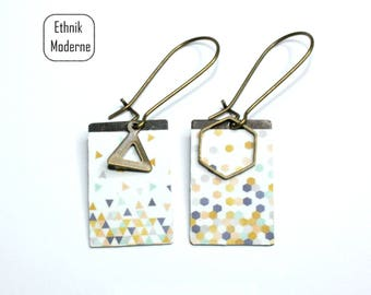 Earrings hexagon and triangle pattern