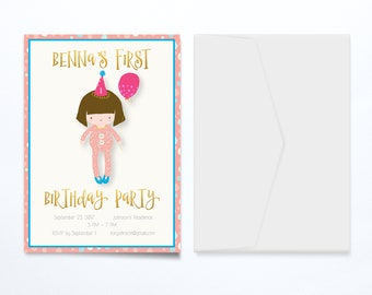 Birthday Party Baby Girl Invitation | DIY Printable or Full-Service Printing Available