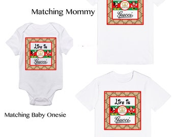 Life Is Gucci with Mickey Mouse and Minnie Mouse Matching Family T-Shirts | 1st Birthday Party Keepsake | Designer Inspired