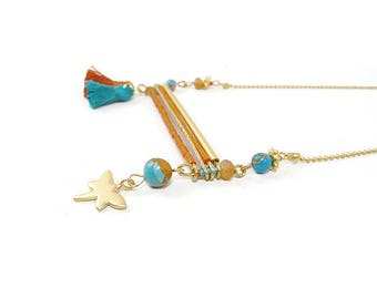 Necklace bar gold plated Dragonfly rust and turquoise tassel