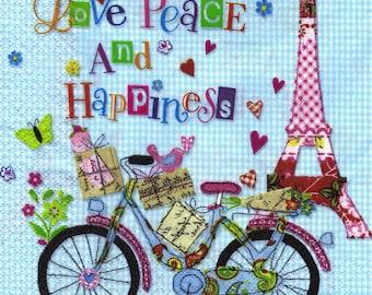 581 PARIS has bicycle 1 lunch size paper towel