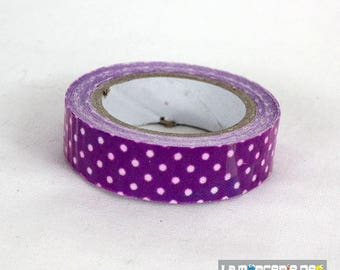 masking tape 15 mm purple polka dot cotton