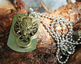 Stainless steel dog tag with bronze Fenris Wolf