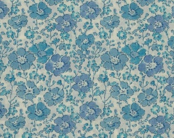 "Coupon - 45cm x 68cm Liberty of London fabric - blue ""Clarisse""."