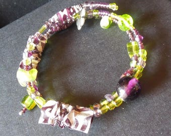 Green and purple paper Beads Bracelet