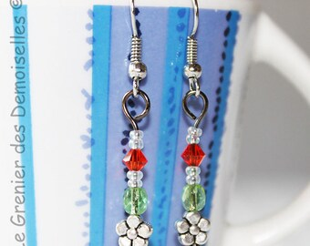 Pair of earrings dangling flowers in green orange Crystal and metal