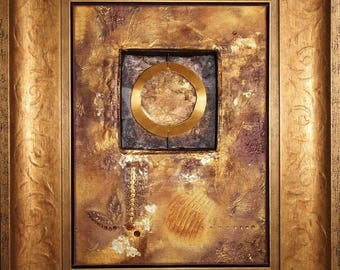 Abstract painting gold, framed and with stripping
