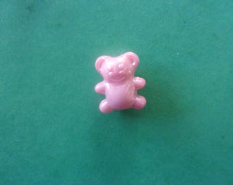 Pink Pearl shaped little bear, acrylic - 12mm x 14mm
