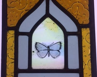 Mini stained glass window with hand painted butterfly
