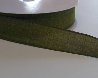 """FREE SHIPPING- 1.5"""" Wired Olive Green Linen Ribbon - Fall Ribbon- 5 Yards"""